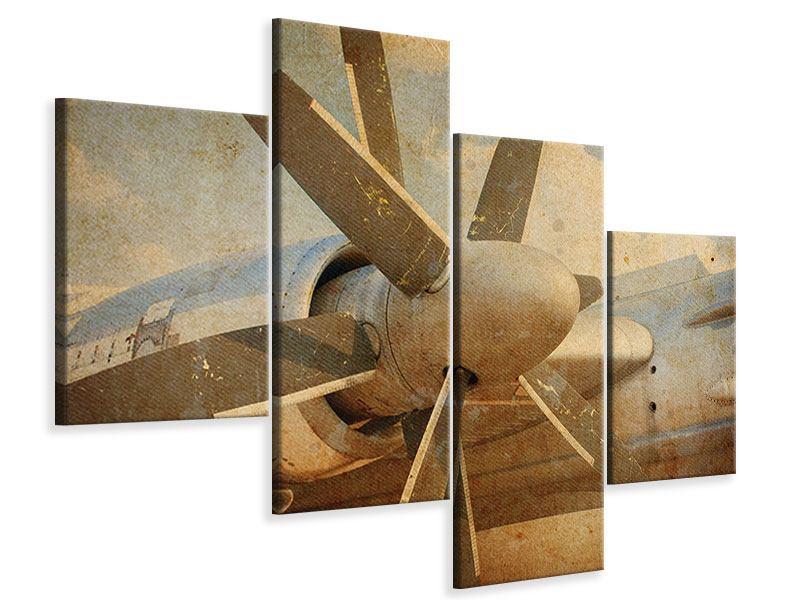 Leinwandbild 4-teilig modern Propellerflugzeug im Grungestil