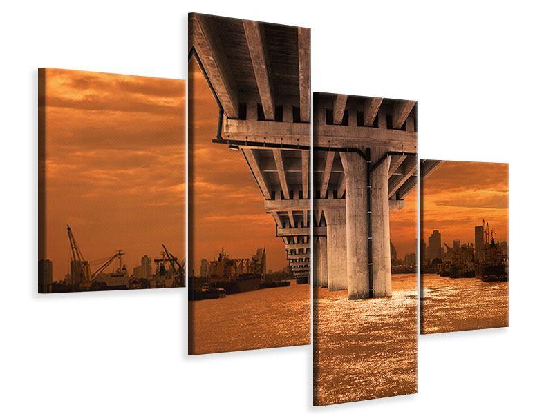 Leinwandbild 4-teilig modern Die Brücke