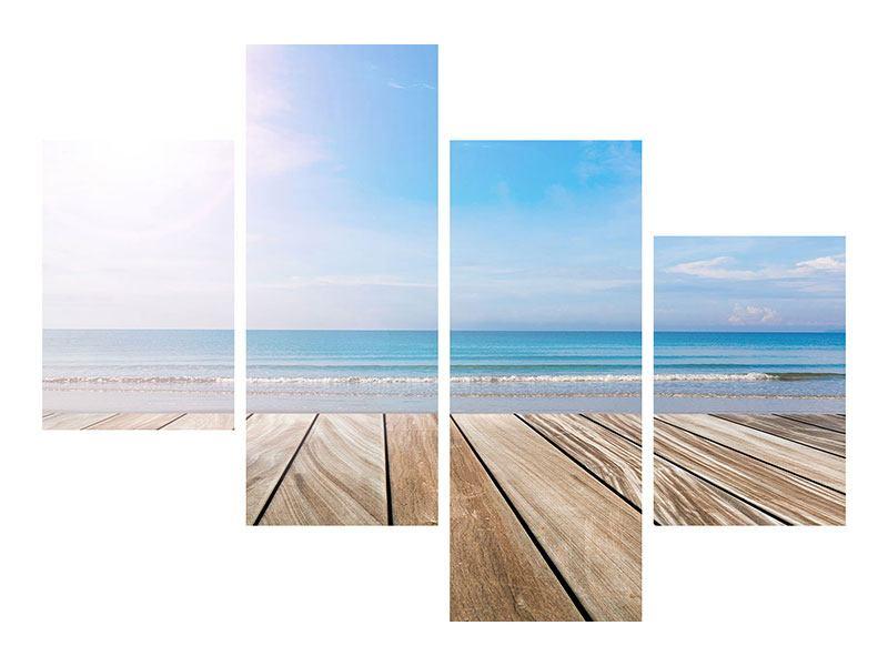 Leinwandbild 4-teilig modern Das schöne Strandhaus