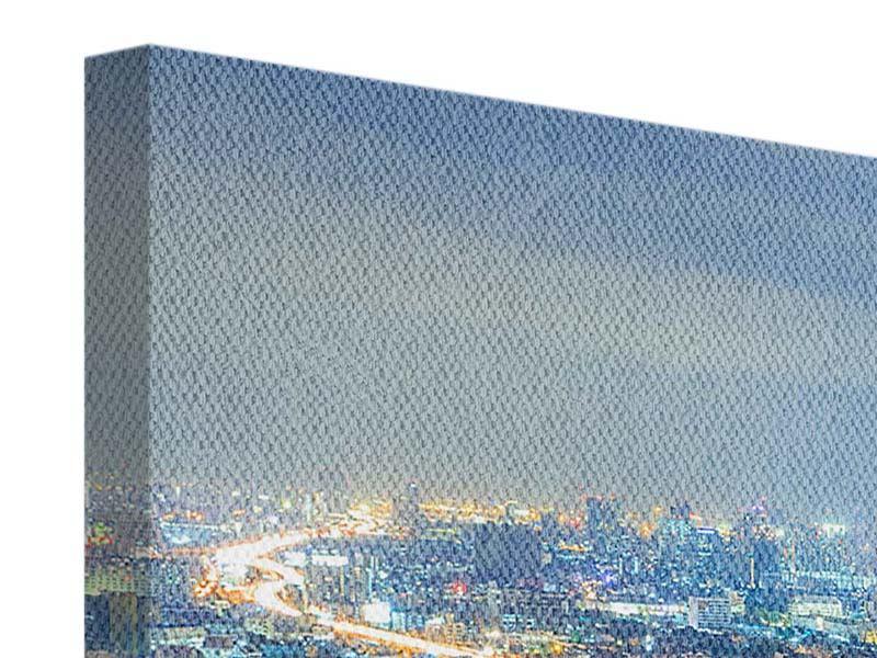 Leinwandbild 4-teilig modern Skyline Bangkok im Fieber der Nacht