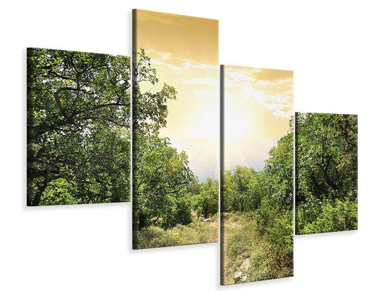 Leinwandbild 4-teilig modern Am Ende des Waldes