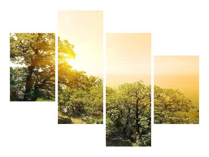 Leinwandbild 4-teilig modern Sonnenuntergang in der Natur