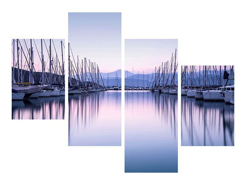 Leinwandbild 4-teilig modern Yachthafen