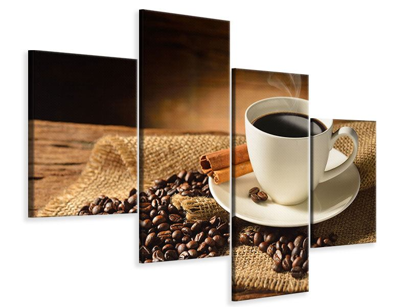 Leinwandbild 4-teilig modern Kaffeepause