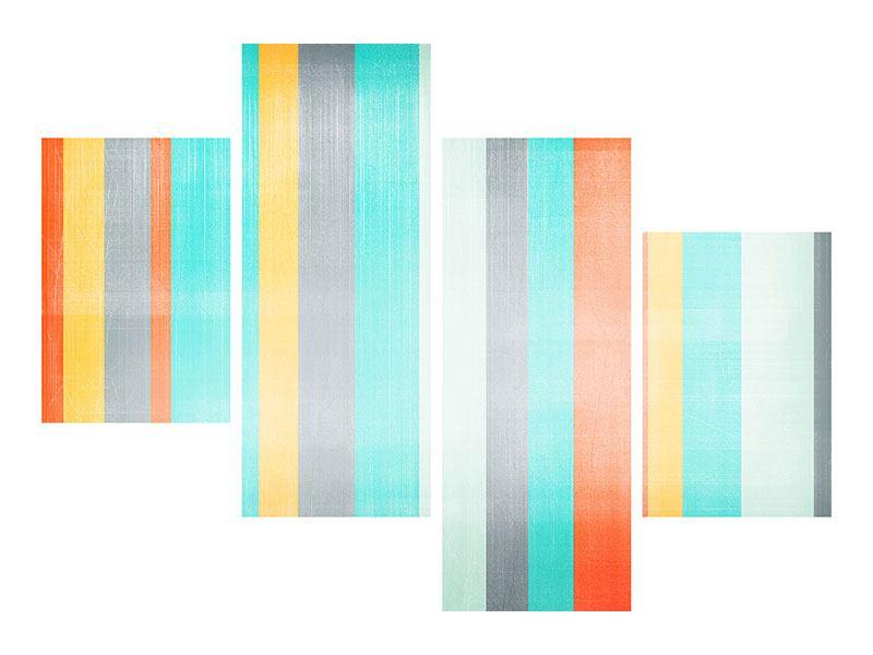 Leinwandbild 4-teilig modern Grunge Streifen