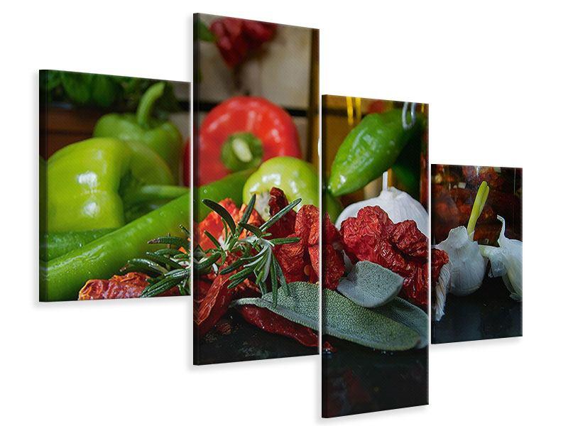 Leinwandbild 4-teilig modern Mediterranes Gemüse