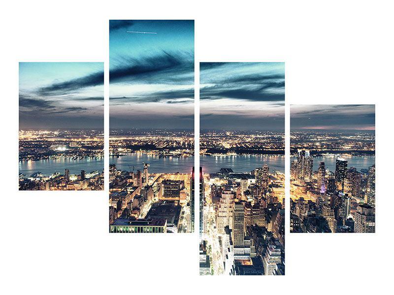 Leinwandbild 4-teilig modern Skyline Manhattan Citylights