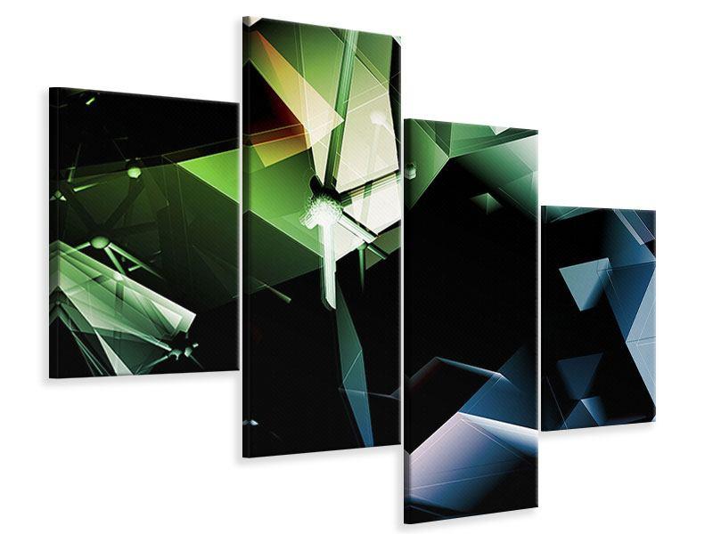 Leinwandbild 4-teilig modern 3D-Polygon