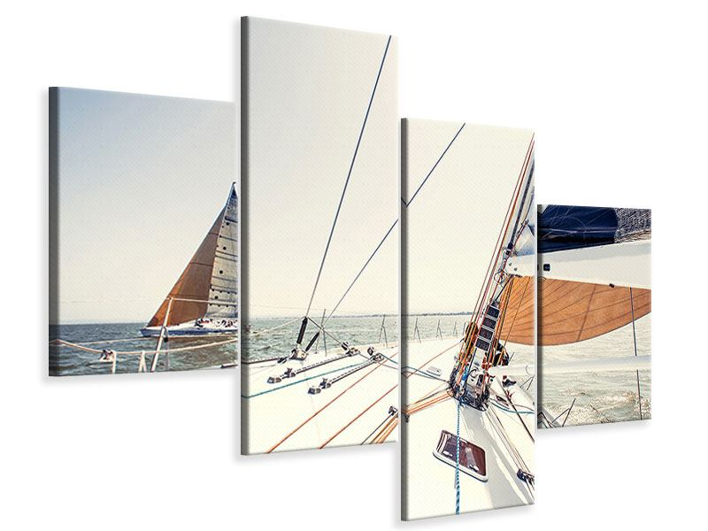 Leinwandbild 4-teilig modern Segelyacht