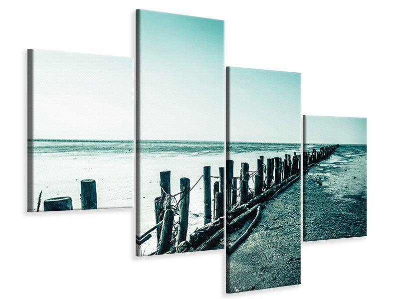 Leinwandbild 4-teilig modern Das Wattenmeer