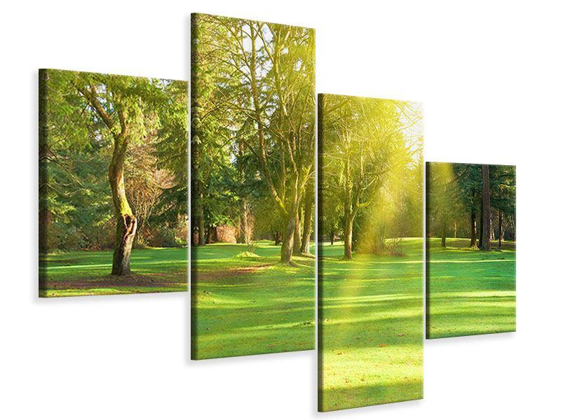 Leinwandbild 4-teilig modern Im Park