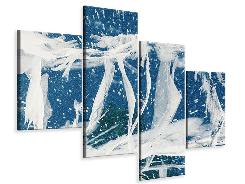 Leinwandbild 4-teilig modern Eiskristalle