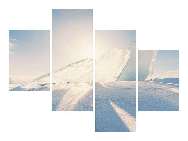 Leinwandbild 4-teilig modern Eislandschaft
