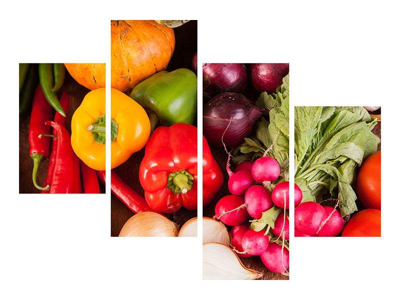 Leinwandbild 4-teilig modern Gemüsefrische
