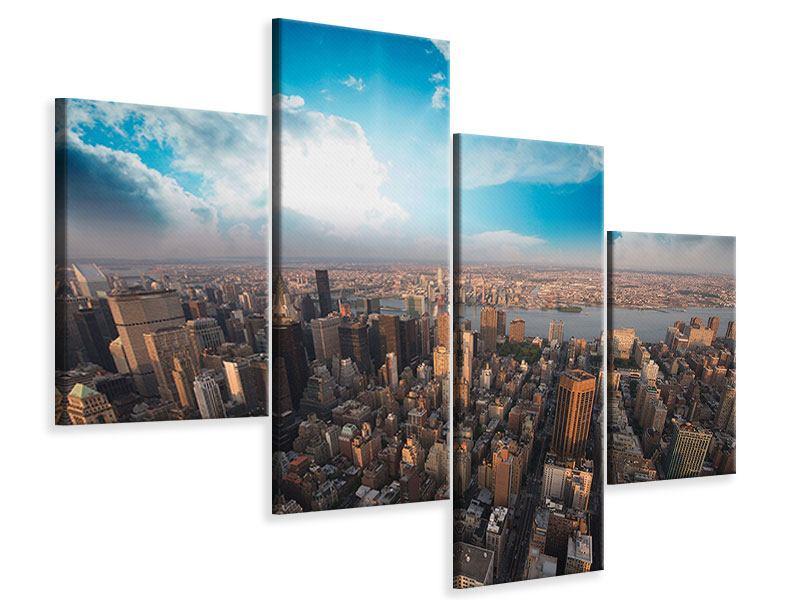 Leinwandbild 4-teilig modern Skyline Über den Dächern von Manhattan