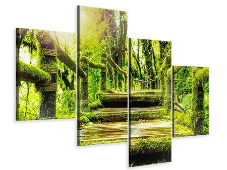 Leinwandbild 4-teilig modern Moos