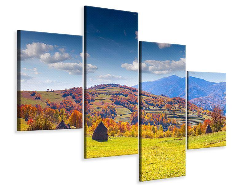 Leinwandbild 4-teilig modern Herbstliche Berglandschaft