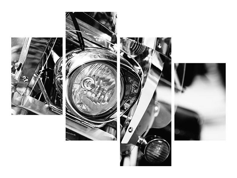 Leinwandbild 4-teilig modern Motorrad Close Up