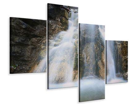 Leinwandbild 4-teilig modern Imposanter Wasserfall