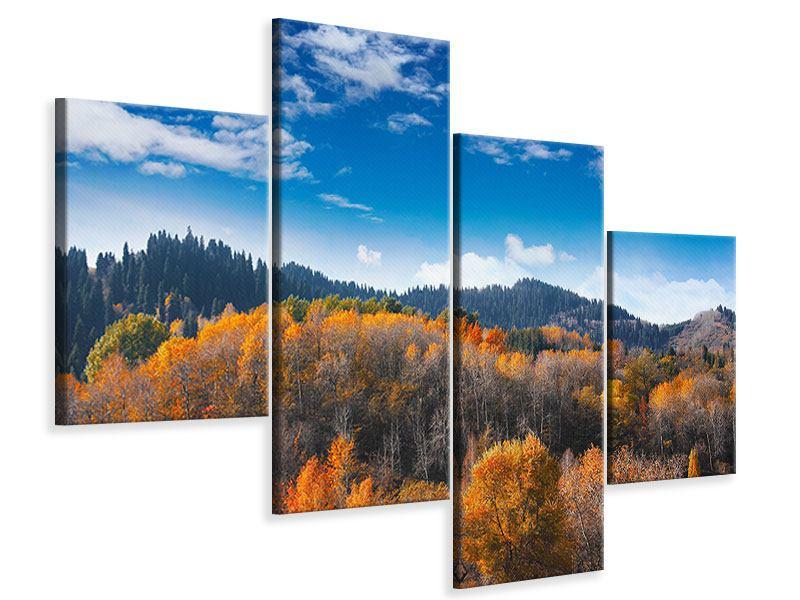 Leinwandbild 4-teilig modern Wolken ziehen auf