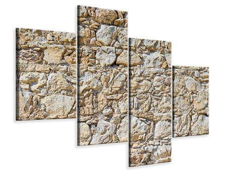 Leinwandbild 4-teilig modern Sandsteinmauer
