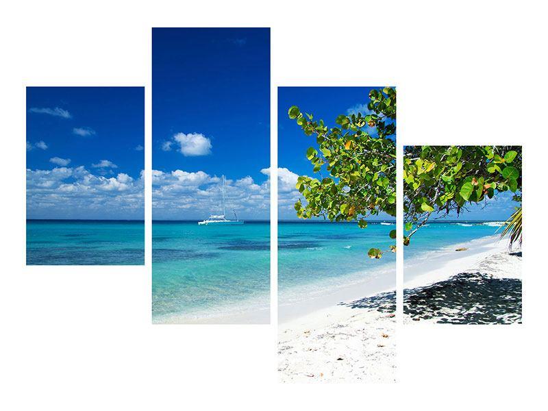 Leinwandbild 4-teilig modern Happy Beach