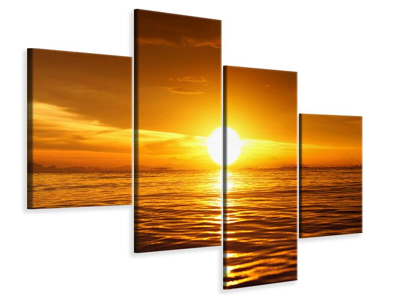 Leinwandbild 4-teilig modern Glühender Sonnenuntergang am Wasser
