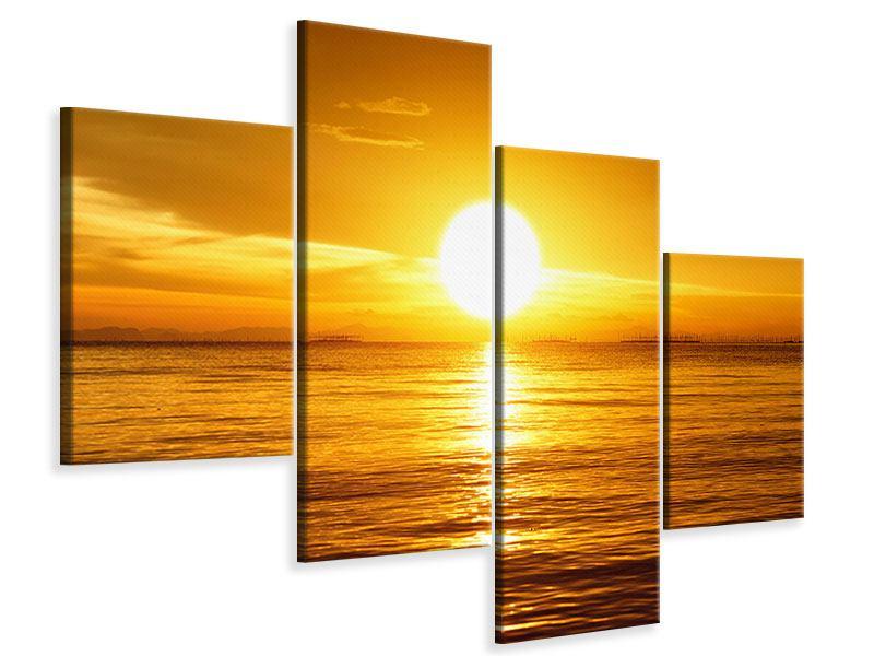 Leinwandbild 4-teilig modern Traumhafter Sonnenuntergang