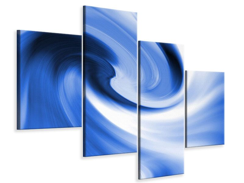 Leinwandbild 4-teilig modern Abstrakte blaue Welle
