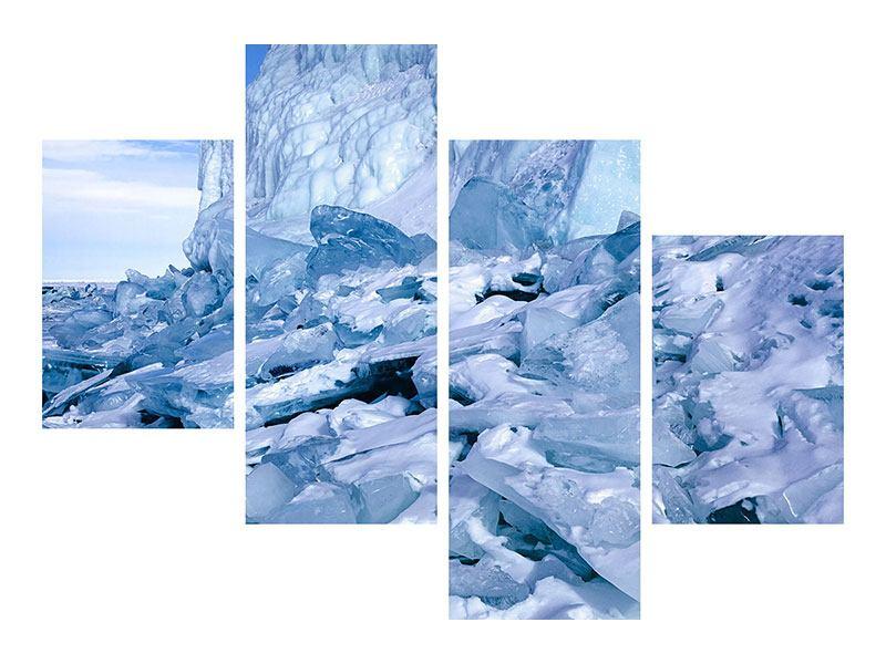 Leinwandbild 4-teilig modern Eislandschaft Baikalsee
