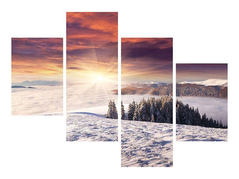 Leinwandbild 4-teilig modern Sonnenaufgang Winterlandschaft