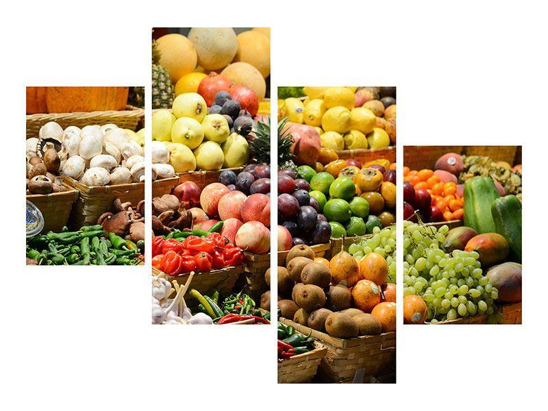 Leinwandbild 4-teilig modern Obstmarkt