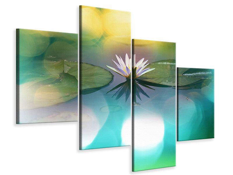 Leinwandbild 4-teilig modern Lotus-Spiegelung