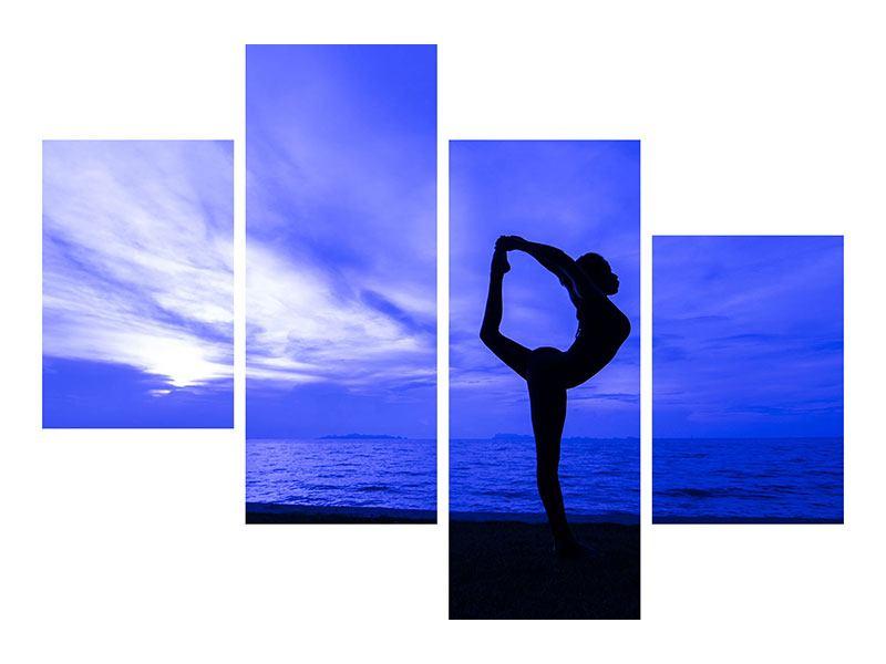 Leinwandbild 4-teilig modern Yogaübung am Strand