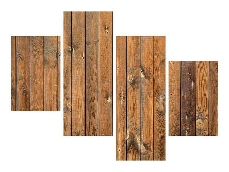 Leinwandbild 4-teilig modern Bretterwand