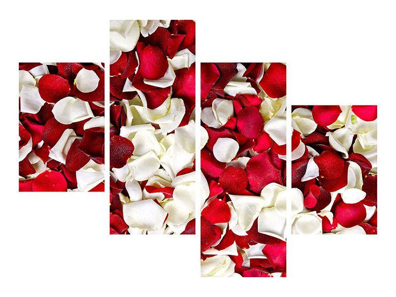 Leinwandbild 4-teilig modern Rosenblätter