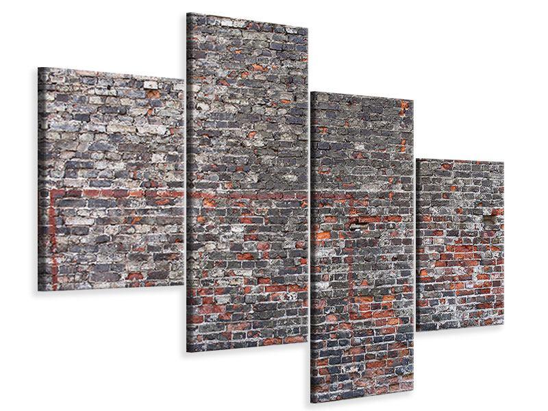 Leinwandbild 4-teilig modern Alte Backsteine