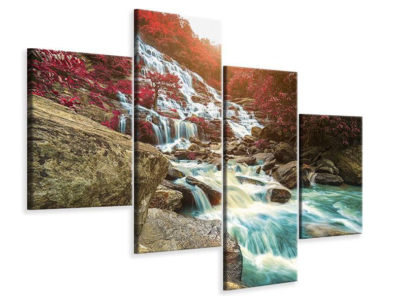 Leinwandbild 4-teilig modern Exotischer Wasserfall