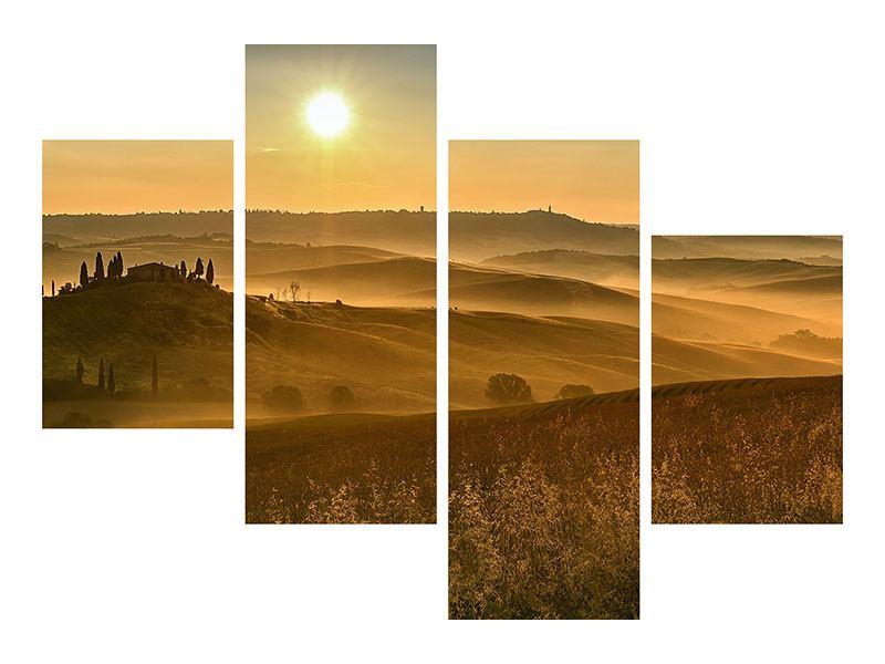 Leinwandbild 4-teilig modern Sonnenuntergang im Gebirge