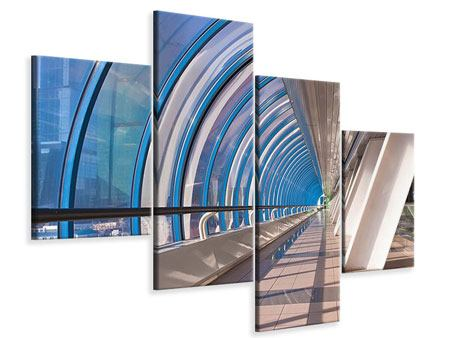 Leinwandbild 4-teilig modern Hypermoderne Brücke