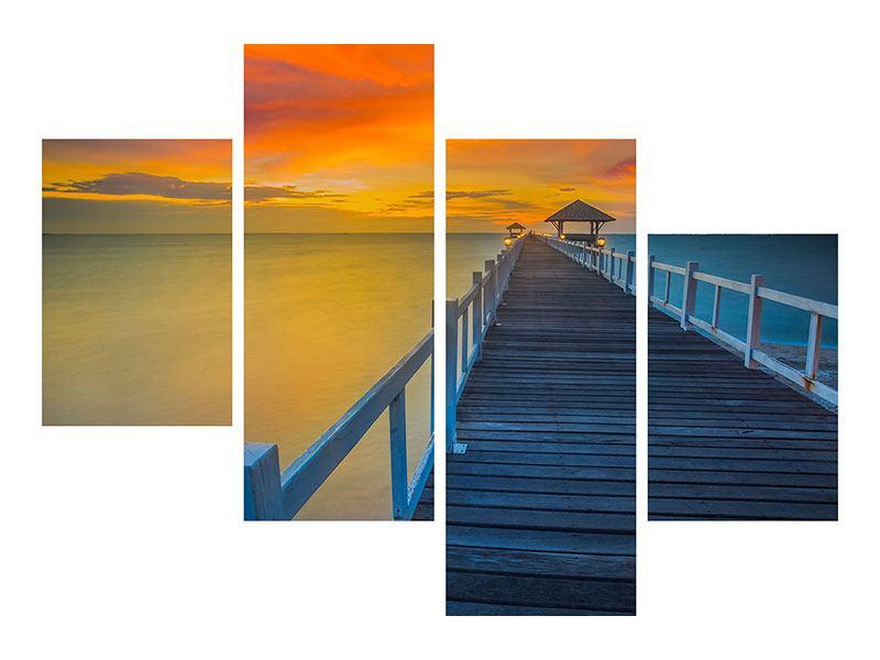 Leinwandbild 4-teilig modern Eine Holzbrücke im fernen Osten