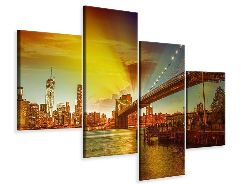 Leinwandbild 4-teilig modern Skyline Brooklyn Bridge NY