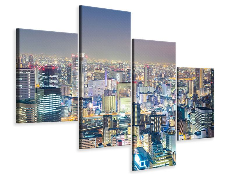 Leinwandbild 4-teilig modern Skyline Osaka bei Sonnenuntergang