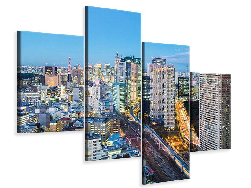 Leinwandbild 4-teilig modern Skyline Tokio im Lichtermeer