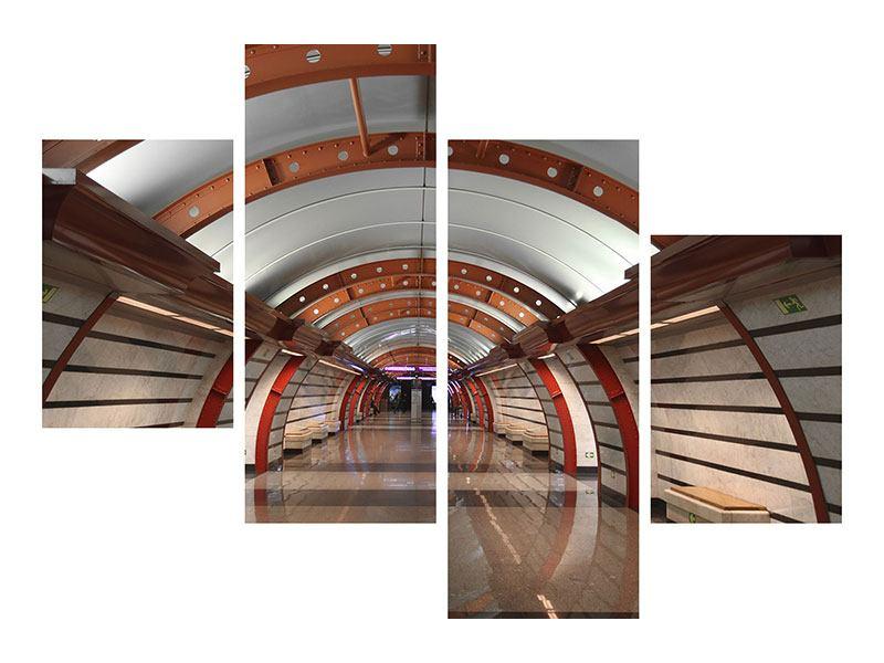 Leinwandbild 4-teilig modern U-Bahn Station