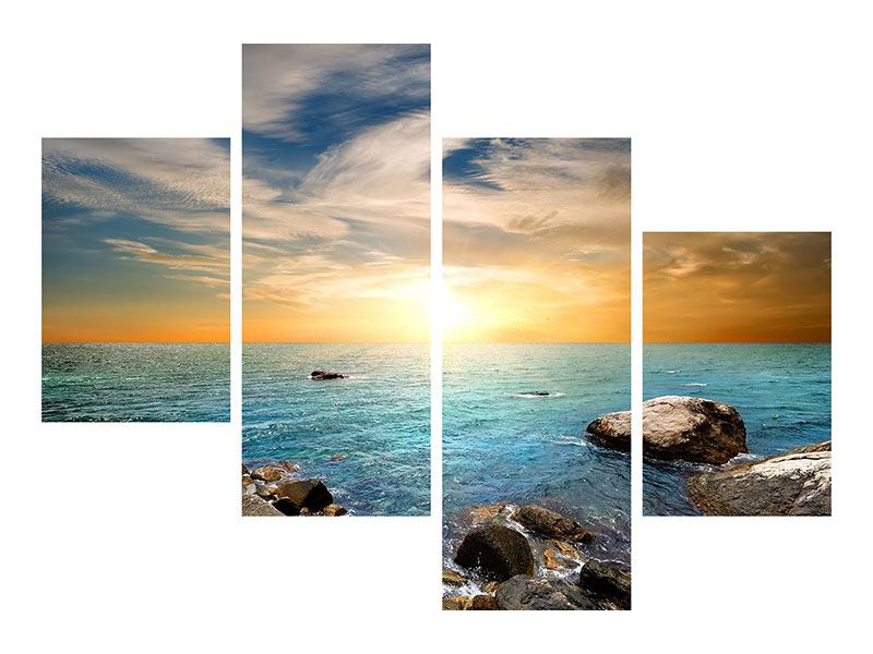 Leinwandbild 4-teilig modern Meerwasser