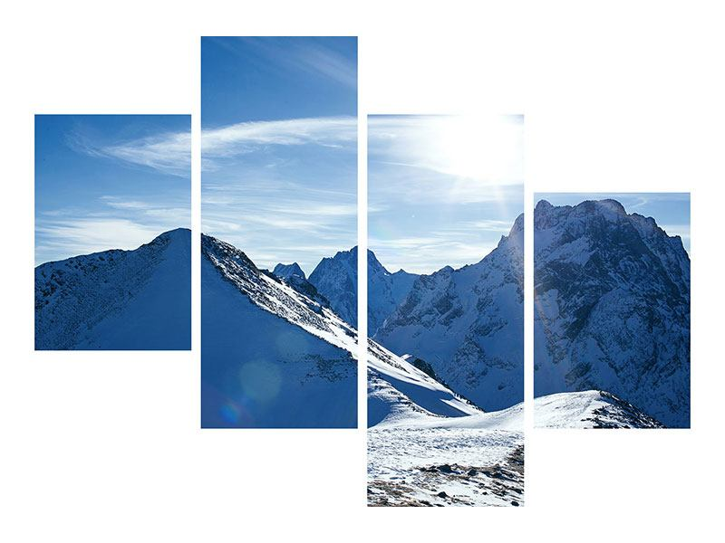 Leinwandbild 4-teilig modern Der Berg im Schnee