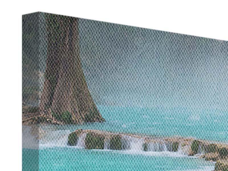 Leinwandbild 4-teilig modern Haus am Wasserfall