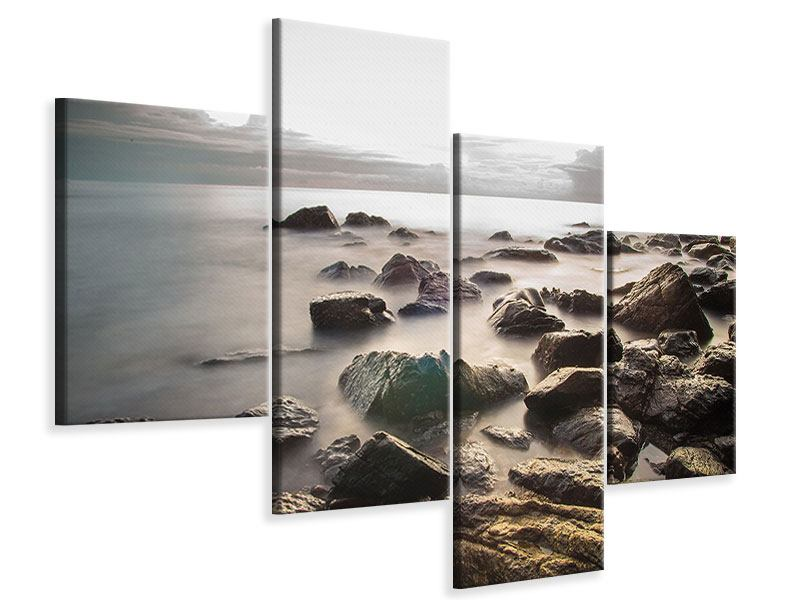 Leinwandbild 4-teilig modern Steine am Strand