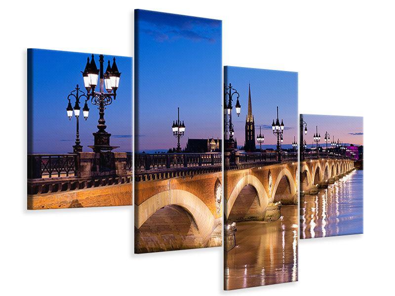 Leinwandbild 4-teilig modern Pont De Pierre bei Sonnenuntergang